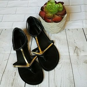 Mossimo Black & Gold Sandals